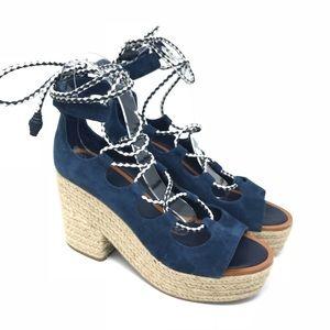 Tory Burch Shoes Positano Lace Platform Espadrille